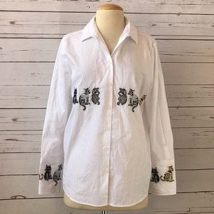 TOPSHOP Embroidered cats white top sz 6 NWT